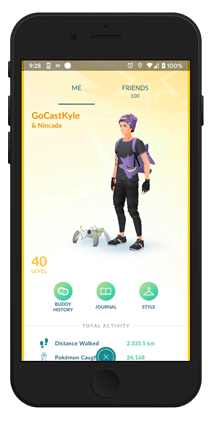 GOCast Kyle Trainer Screen on iPhone